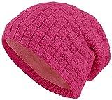 warm gefütterte Beanie mit Teddy-Fleece Fütterung Wintermütze mit Flechtmuster Einheitsgröße für Damen & Herren Mütze (3A) (Pink)