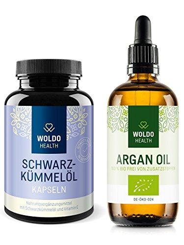 WoldoHealth Schwarzkümmelöl-Kapseln mit Vitamin E und Bio-Arganöl im Set - Hochdosiertes Schwarzkümmelöl in 180 Kapseln - 100ml kaltgepresstes Körper Öl aus Marokko -