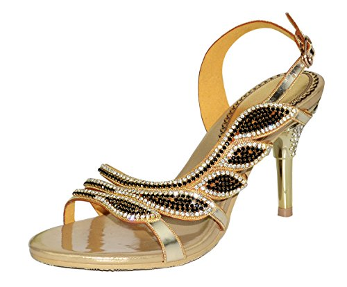honeystore-damens-blatt-geformt-strass-handgemacht-stockel-absatz-sandalen-gold-41-eu
