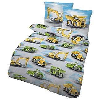 IDO Kinder Jungen Bettwäsche Baumaschinen LKW & BAGGER - 2 tlg. 80x80 + 135x200 cm - 100 % Baumwolle