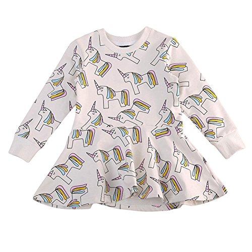 zooarts für 1–7Jahre Kinder Mädchen Pferd Print Prinzessin Kleid Rock Lange Ärmel Boutique Outfits, multi, 80 (1-2 Years)