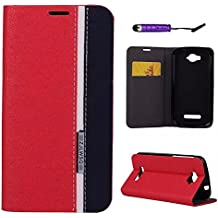 Alcatel One Touch Pop C7 Funda, adorehouse PU Flip Funda Case Back Cover [Ranuras para tarjetas] [Stand Cover] Billetera Funda para Alcatel One Touch Pop C7 (Rojo + Negro)