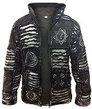 Shopoholic Fashion Mens Fleece Lined Black Goth Emo Winter Hippy Jacket