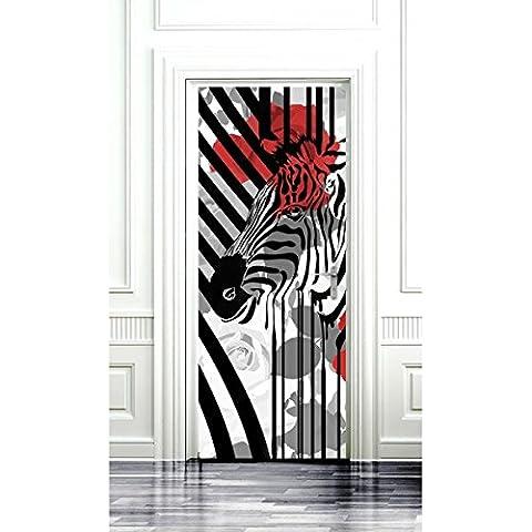 Papel pintado, diseño de cebra y amapolas