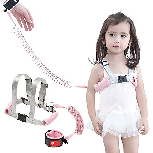 OFUN Anti-verlorene Gürtel Handgelenk Link Baby Kleinkind Sicherheit Laufgeschirr mit Leine Childs Kinder Assistent Gurt + Safety Armband, 2M (1 Pack, Pink)