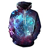 AMOMA Jungen Digitaldruck Kapuzenpullover Tops Fashion Hoodie Pullover Hooded Sweatshirt (Small/Medium, Milchstraße)