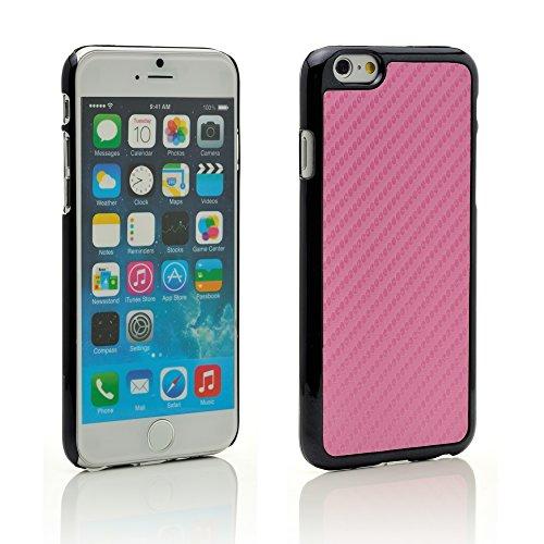 """iProtect Apple iPhone 6 (4,7"""") Kunstleder Hülle Hard Case Schutzhülle carbonoptik weiß Hardcase Carbon Pink"""