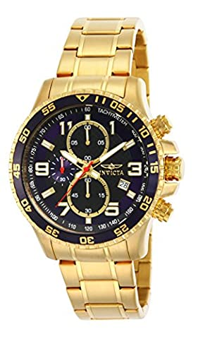 Invicta Men's Specialty Quartz Watch with Black Dial Chronograph Display and Gold Plated Bracelet