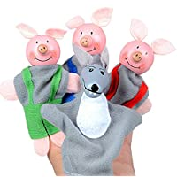 Xmiral Finger Hand Puppets Three Little Pigs And Wolf Toys 4PCS