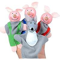 PLFUR 4PCS Tres cerditos y Marionetas de Lobo Marionetas de Mano