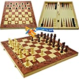 3 in 1 Wooden Board Game Set Compendium Travel Games Chess Backgammon Draughts