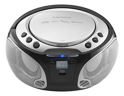 Lenco SCD-550 tragbarer CD-Player mit Bluetooth, UKW-Radio und Licht-Effekten (CD / MP3, USB, AUX, LCD-Display, Kopfhörer-Anschluss), silber Mp3 Player Mit Licht