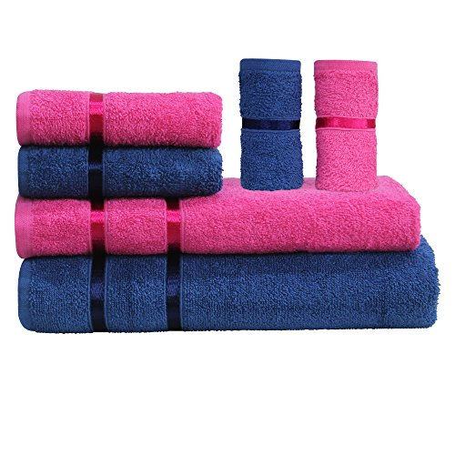 Story@Home 6 Piece 450 GSM Cotton Towel Set - Pink and Navy