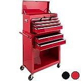 Arebos Werkstattwagen 9 Fächer/zentral abschließbar/Anti-Rutschbeschichtung/Räder mit Festellbremse/Massives Metall/rot oder schwarz (Rot)