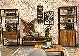 Main Möbel Wohnwand 'Lissabon' Wildeiche Stahl schwarz