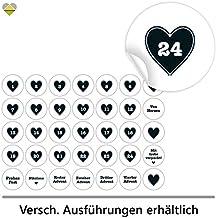 24 Adventskalender-Zahlen + 11 Motive | Selbstklebend | Pünktchen Rahmen Herz | Rund | S » Ø 24 mm | Schwarz | FA0091-04 | Die ideale Ergänzung zu DIY Adventskalender zum selbst Befüllen und Gestalten | Aufkleber / Etiketten / Sticker von Cute-Head » CuteLove & Head-Beat