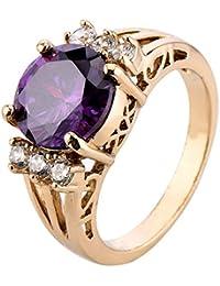 EOZY Bague Magnifique Cristal Anneau Violet Zircone Éternel Ronde Fantaisie Saint-Valentin Femme