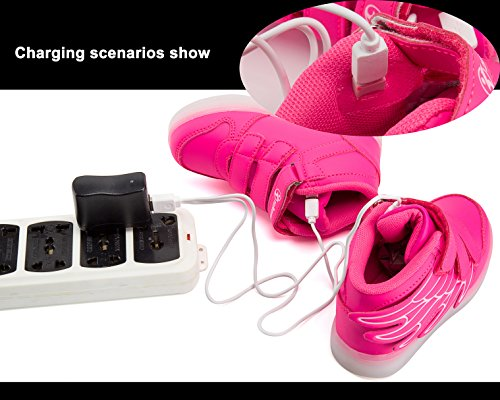 LED Chaussures,Angin-Tech Ange Série Led Chaussure 7 Couleurs USB Rechargeable Clignotant Chaussures Basket Lumineuse de Garçon et Fille pour Noël Halloween avec CE Certificat pink