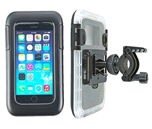 """smart2Bike® Fahrradhalterung / Motorrad-Halterung Mit Hard Case (Schutz-Tasche) Für Smartphone, Navigator, Handy, Uvm. - Display-Diagonale Universal: 4,7"""" (bis 5,1'') passend zu Apple iPhone 6, 6S, Samsung Galaxy S7, J1, Microsoft Nokia Lumia 630, 640 LTE uvm. Schutzhülle Spritzwasser geschützt! Mit Sicherungsriemen, rückseitigen Gürtelschlaufen und 1/4''-Gewinde!"""