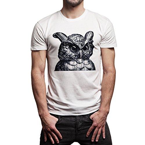 Illuminati Triangle Art Majestic Owl Interesting Background Herren T-Shirt Weiß