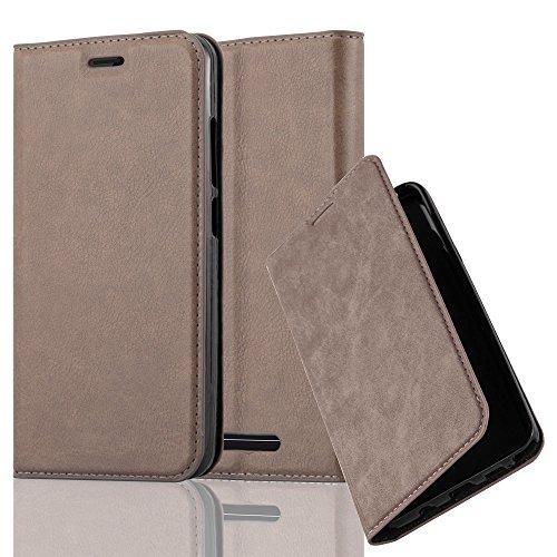 Cadorabo Hülle für Wiko Jerry - Hülle in Kaffee BRAUN – Handyhülle mit Magnetverschluss, Standfunktion und Kartenfach - Case Cover Schutzhülle Etui Tasche Book Klapp Style