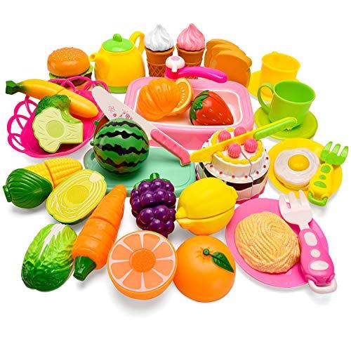 Balnore Küchenspielzeug Lebensmittel Essen Schneiden Kinder Spielzeug Set Frucht Gemüse Obst 36Pcs Rollenspiel Pretend Play