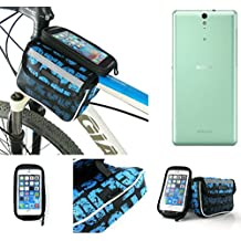 Bolso Bolsa Funda Bicicleta para Sony Xperia C5 Ultra, Funda Móvil soporte tubo Bici, azul, Impermeable Resistente al Agua - K-S-Trade(TM)