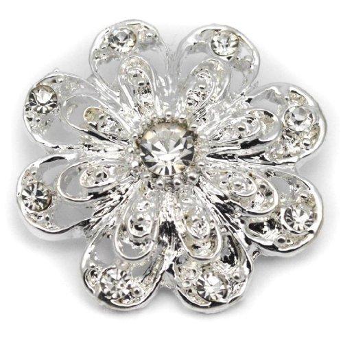 Elixir77UK color de plata de regalo boda fiesta nupcial Pin broche liso con cristales brillantes