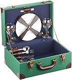 Carlo Milano Picknick Set: Picknick-Koffer, voll bestückt für 2 Personen, 11-teilig (Outdoor Reisekorb zum Grillen)