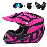 LOOSMD Motorradhelm Motocross Helm, schwarz und pink/DOT Zertifiziert, Erwachsenen Motocross, Helm mit Brillenhandschuhen Maske Damen Herren und Kinder Erwachsene