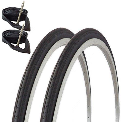 Fincci Paar Road Race Rennrad Fahrrad Reifen 700 x 23 c 23-622 und Sclaverandventil Schläuche mit 2,5 mm Pannenschutz