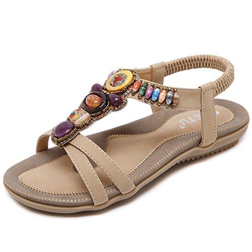 Woky Damen Sommer Sandalen mit Strass Perlen Bohemia Strand Schuhe Freizeit Flach Sandalette Größe 34-44