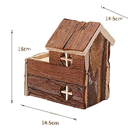 emours Natural Chewable Hamster Hideout Wooden Hut, Small 5