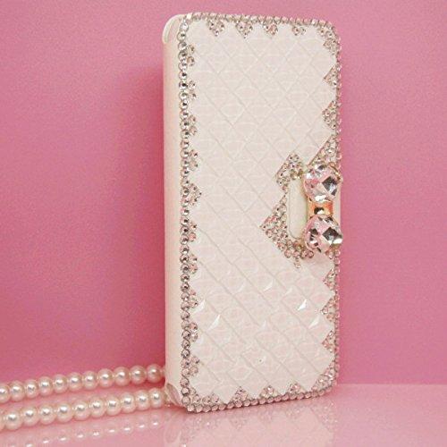 iPhone 6Plus/6S Plus Fall, Handwerk von jabit Luxus Bling Strass Wallet Schutzhülle Ultrathin magnetischem Ständer Kristall Leder Book Cover Schutzhülle Schutzhülle 4Farben, Weiß