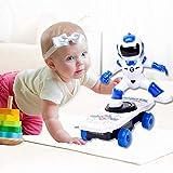 Mopoq Cartoon Robot Scooter Elettrico per Bambini Acrobazia Spin Tumbling con Musica Leggera Gioca Scooter Toy Fall Climb Rotazione Universale a 360 °