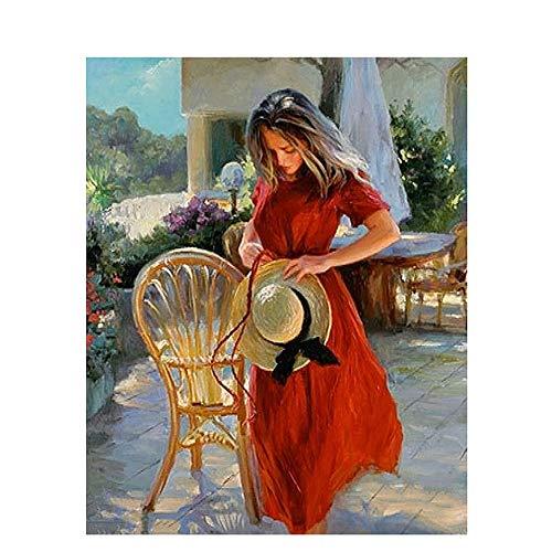 FDDPT Malen nach Zahlen DIY Erwachsene für Kinder Rotes Kleid neben dem Stuhl 40 x 50 cm