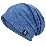 VECRY Herren Slouch Hollow Mütze Thin Sommer Cap Strickmützen Beanie Skullcap (Multi-Blau)