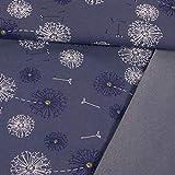 French Terry Stoff Pustblumen Jeansblau 160 cm breit - Preis Gilt für 0,5 Meter