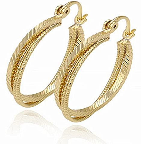 Juvel-Jewelry Fashion 14K Gold Plated Earring Hoop Three Round Style For Anniversary