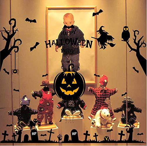 Wandaufkleber Die Neuen Halloween Wandaufkleber Spuk Geisterhaus Zauberer Hexe Kürbis Kopf Fenster Glas Hintergrund Aufkleber