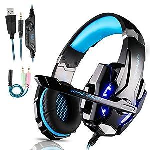 FUNINGEEK Gaming Headset für PS4,PC Xbox One Gaming Kopfhörer mit Mikrofon Stereo Surround Bass Sound 3.5 mm Schnittstelle mit LED Licht Professional Headset für Nintendo Switch/Laptop/Mac/Tablet
