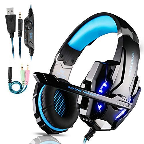 Cuffie Gaming per PS4,Cuffie da Gaming con microfono e Bass stereo Cuffie da Gioco con 3.5mm Jack LED e Controllo Volume Gaming Headset per PS4/Xbox One/Nintendo Switch/PC/MAC/Laptop/Tablet