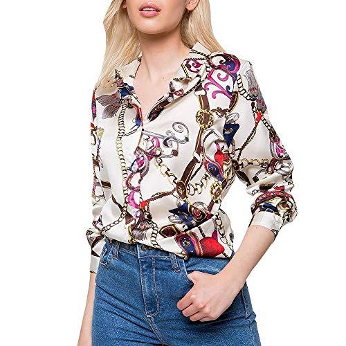 HEATLE Mode Damen Sommer Tägliche Persönlichkeit Langarm Ketten Print Damen Freizeithemd Tops V-Ausschnitt Bluse (Beige,M)