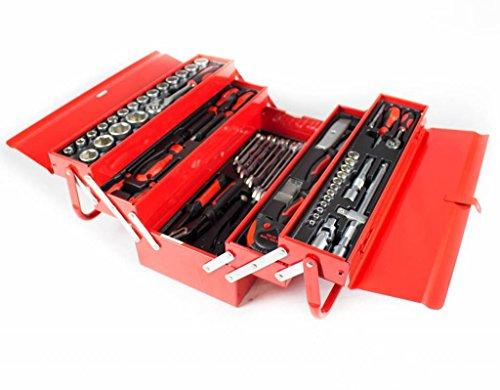 Ragnor - Metall Werkzeugkoffer gefüllt mit Werkzeug - 72tlg. Werkzeug-Sortiment - Rot