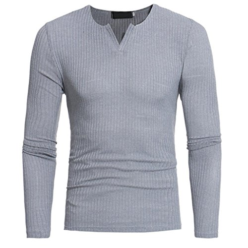 Amlaiworld 6 Farbe Herren Herbst Freizeit Sweatshirt dick Winter Pullover Warm Langarmshirts Eng Fitness Mäntel Mode Sport Pulli Weich Oberteil (XXXL, Grau)