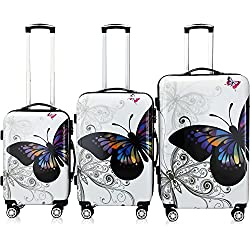 Lot 3 valises M, L, XL Butterfly rigides renforcées Set de Voyage avec verrou - roulettes 360°
