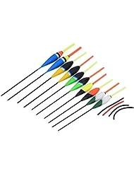 Flotteur Pêche Kit Multicoloré Bois de Balsa Haute Sensibilité Grande Flottabilité (Ensemble de 10Pcs)