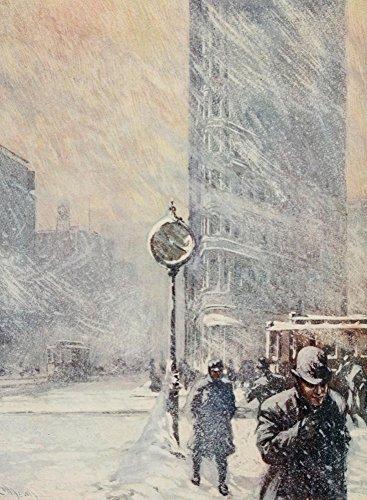 Martin Lewis - New York 1911 A Blizzard 23rd St & Broadway Kunstdruck (45,72 x 60,96 cm)