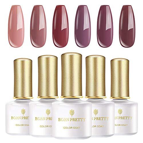 BORN PRETTY Millennial Rosa Gel Series 6 Flaschen Reine Farbe Nagelgelpoliermittel Weg Tränken Nail Art UV Gel Lack -