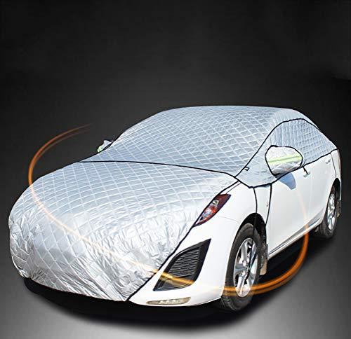 Halbgarage- Autoscheibenabdeckung Frostschutz Frontscheibe Schneeschutz mit Autospiegel Schneeabdeckung & Reflektierte Bänder für die meisten SUV